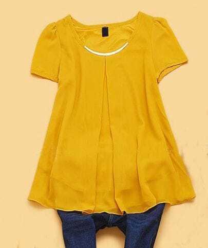Yellow Metal Embellished Short Sleeve Pleated Chiffon Shirt