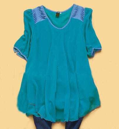 Blue Half Sleeve Denim Shoulder Chiffon Pleated Shirt