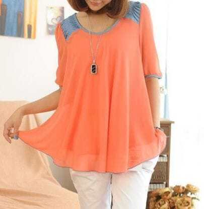 Red Half Sleeve Denim Shoulder Chiffon Pleated Shirt