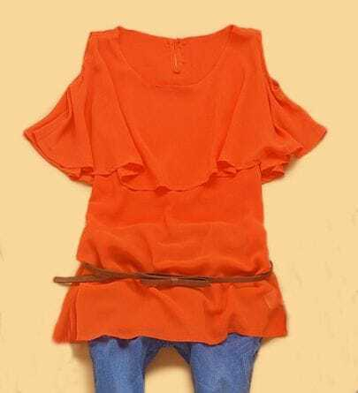Orange Round Neck Cut Out shoulder Cape Collar Blouse