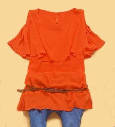Orange Round Neck Cut Out shoulder Cape Collar Blouse