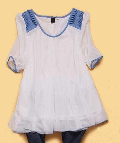 White Half Sleeve Denim Shoulder Chiffon Pleated Shirt