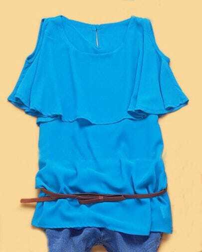 Blue Round Neck Cut Out shoulder Cape Collar Blouse