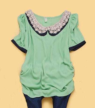 Green Puff Sleeve Crochet Floral Collar Ruched Side Blouse