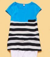 Blue Cap Sleeve Contrast Striped Chiffon Blouse