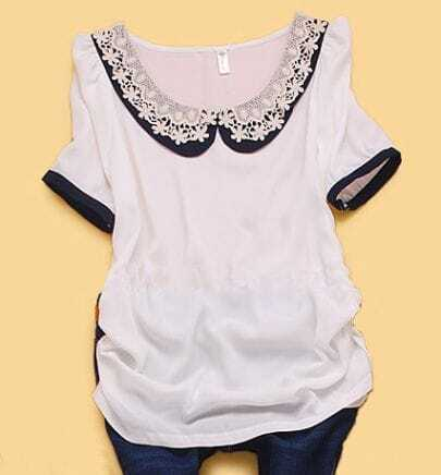 White Puff Sleeve Crochet Floral Collar Ruched Side Blouse