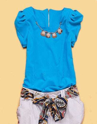 Blue Cap Puff Sleeve Bead Necklace Embellished Chiffon Blouse