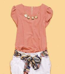 Pink Cap Puff Sleeve Bead Necklace Embellished Chiffon Blouse