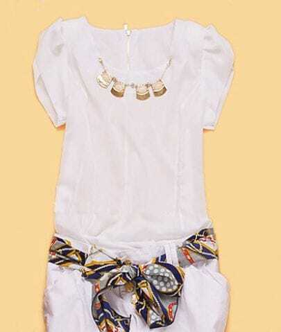 White Cap Puff Sleeve Bead Necklace Embellished Chiffon Blouse