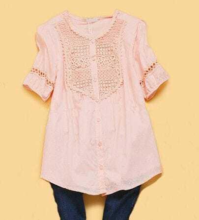 Pink Puff Sleeve Crochet Floral Pintucks Dotted Swiss Shirt