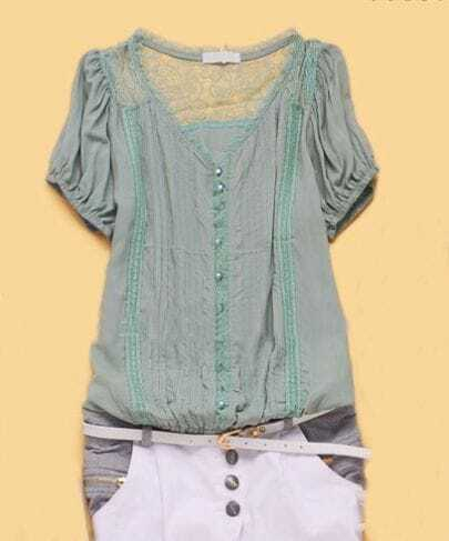 Green Short Sleeve Pintucks Embroidery Trims Chiffon Shirt