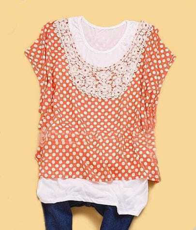 Orange Crochet Collar Batwing Sleeve Polka Dot Blouse with Cami