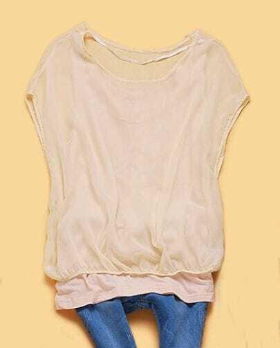 Beige Solid Round Neck Batwing Short Sleeve Chiffon Shirt