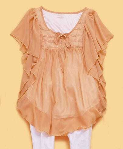 Yellow Solid Round Neck Short Sleeve Ruffles Chiffon Shirt