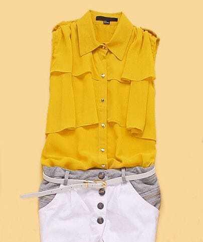 Yellow Sleeveless Pleated Cape Collar Chiffon Shirt