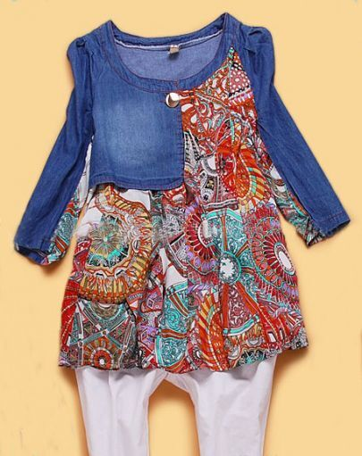 Blue Long Sleeve Contrast Tribal Print Hem Denim Blouse