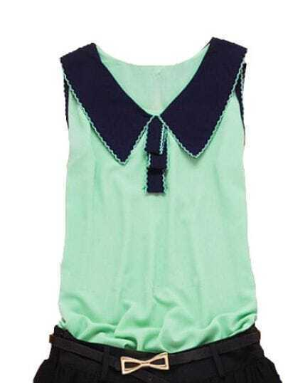 Green Contrast Collar and Lace Trim Sleeveless Chiffon Blouse