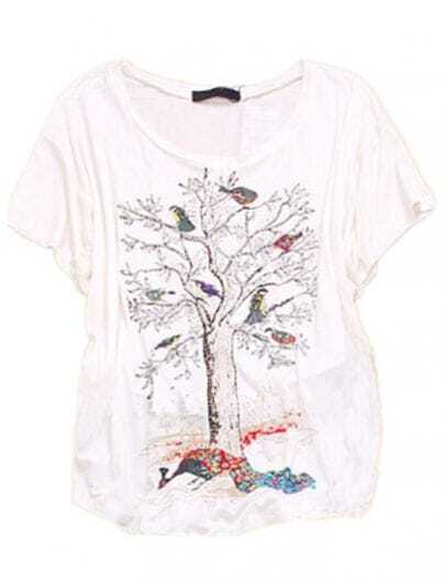 Tree Bird Peacock White Round Neck Batwing Cotton T Shirt