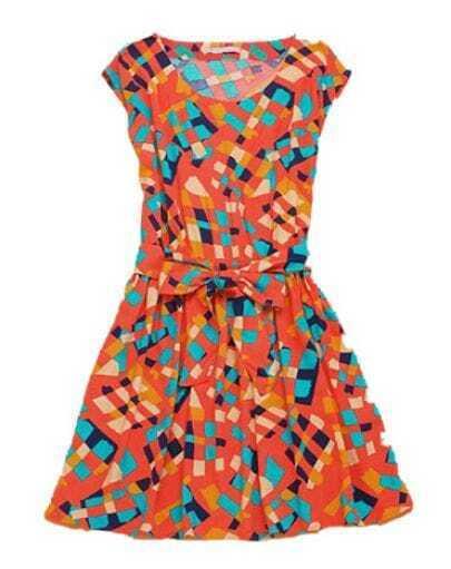 Orange Geometric Print Bow Front Round Neck Sleeveless Cotton Dress