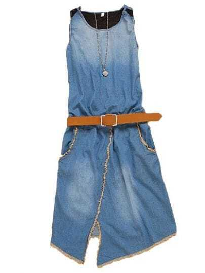 Asymmetrical Sleeveless Denim Split Front Belt Dress