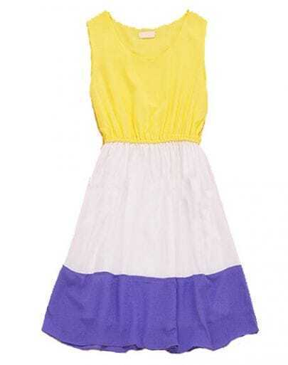 Yellow Color Block Sleeveless Chiffon Dress