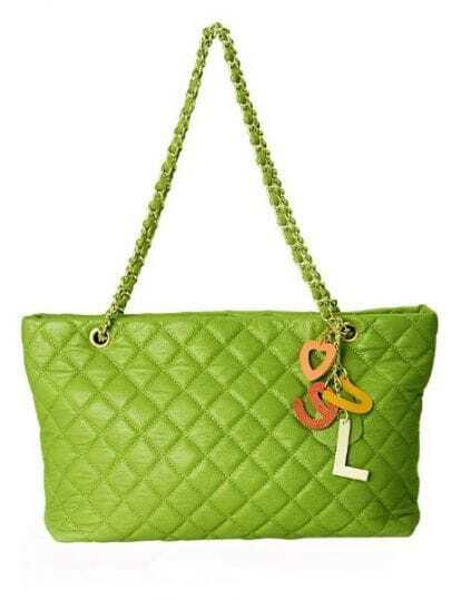 Green Vintage Leather Argyle Chain Zipper Shoulder Bag