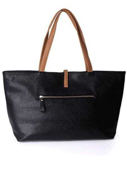 Black Solid Casual Leather Zipper Shoulder Bag