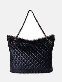 Black Vintage PU Argyle Chain Zipper Shoulder Bag
