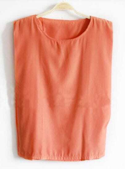 Orange Sleeveless Satin Double Layers Blouse