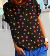 Black Round Neck Short Turn Up Sleeve Star Print Chiffon T-Shirt
