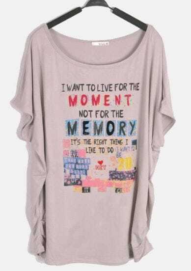 Grey Short Sleeve Draped Side MOMENT MEMORY Print T-Shirt