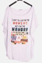 White Short Sleeve Draped Side MOMENT MEMORY Print T-Shirt
