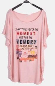 Pink Short Sleeve Draped Side MOMENT MEMORY Print T-Shirt