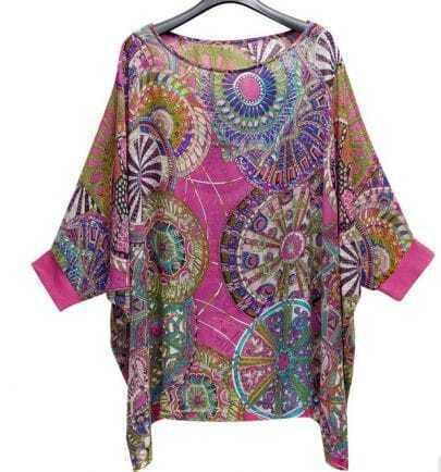 Pink Tribal Print Chiffon Batwing Half Sleeve Blouse