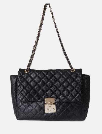 Black Vintage Leather Argyle Chain Satchels