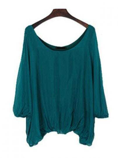 Green Scoop Neck Batwing Sleeve Peasant Chiffon Shirt