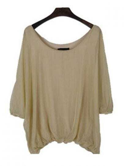Khaki Scoop Neck Batwing Sleeve Peasant Chiffon Shirt
