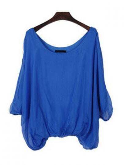 Blue Scoop Neck Batwing Sleeve Peasant Chiffon Shirt
