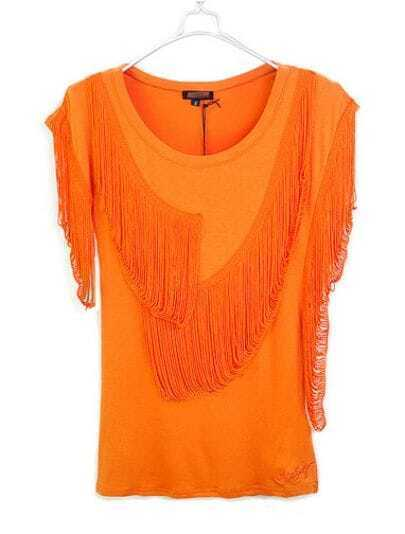Orange Asymmetrical Tassel Sleeve Round Neck T-shirt