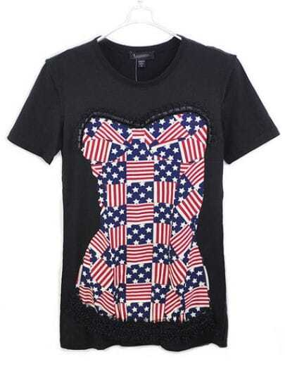 Black American Flag Corset Print Lace Round Neck T-shirt