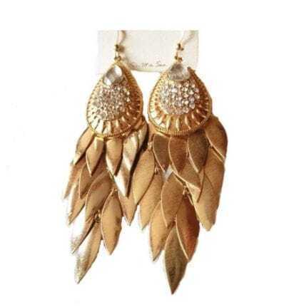 Gold Tassel Teardrop Dangel Earrings