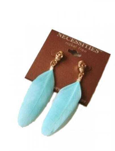 Blue Sky Feather Punk Drop Earrings