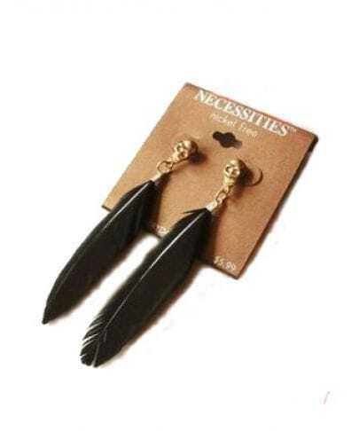 Black Feather Punk Drop Earrings