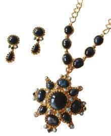 Gemstone Flower Necklace and Teardrop Stud Earring Set