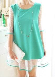 Green Round Neck Short Sleeve Color Block Polka Dot Dress