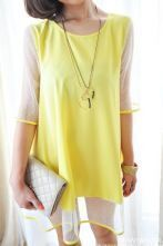 Yellow Round Neck Short Sleeve Color Block Polka Dot Dress
