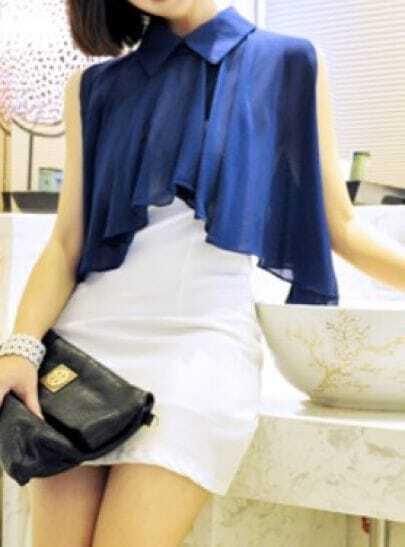 Blue Lapel Off the Shoulder Split Sleeve Color Block Chiffon Dress