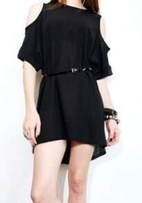 Black Round Neck Off the Shoulder Short Sleeve Street Dress