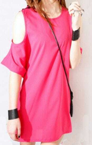 Rose Red Round Neck Off the Shoulder Short Sleeve Street Dress