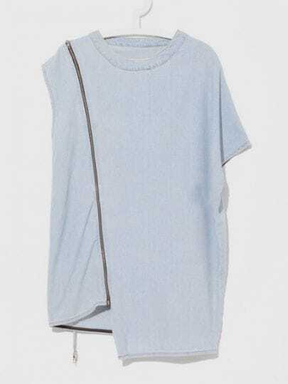 Light Blue Solid Street Round Neck Short Sleeve Asymmetrical Zipper Dress